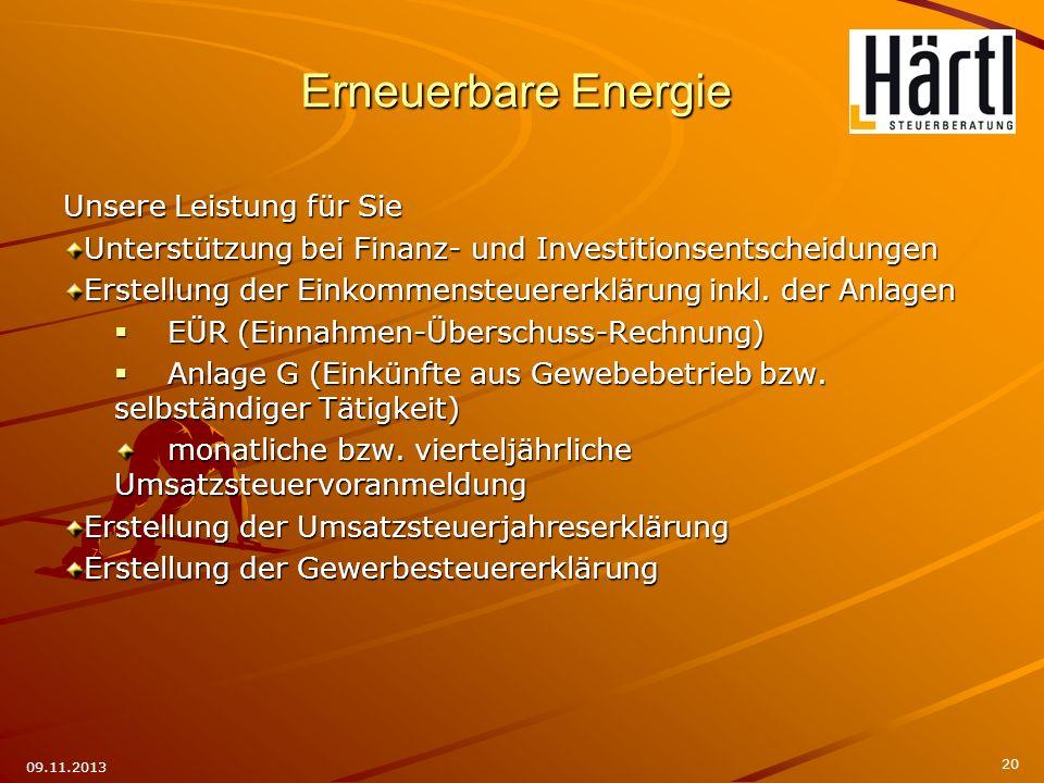 Erneuerbare Energie Unsere Leistung für Sie