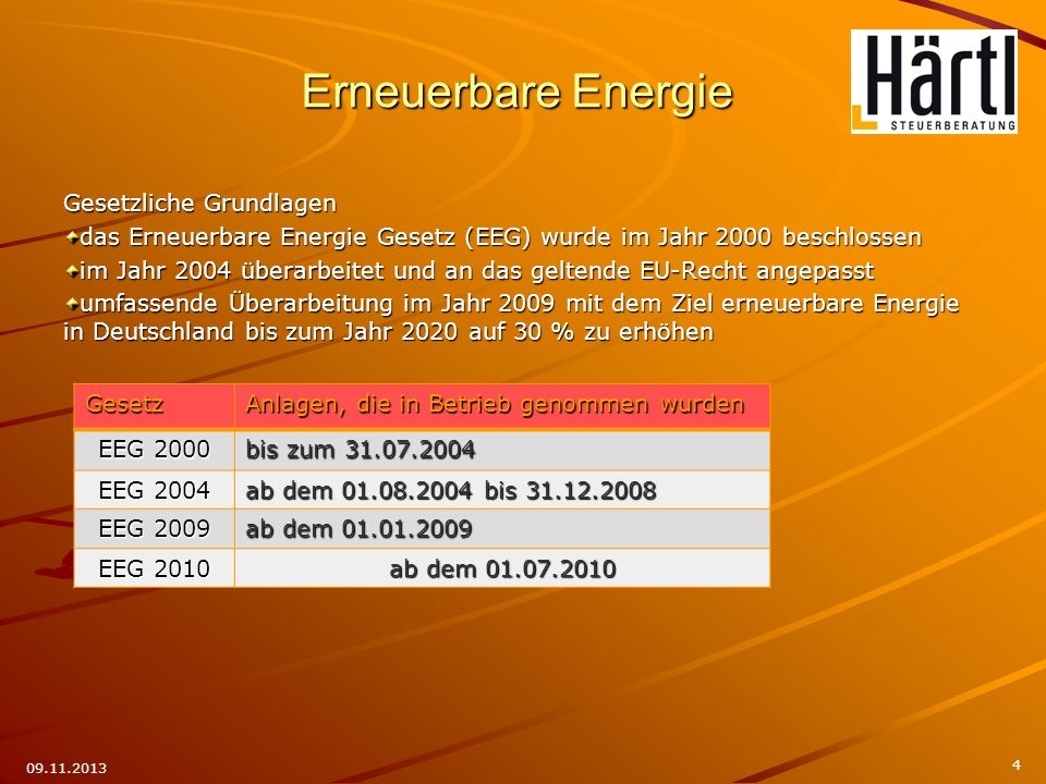 Erneuerbare Energie Gesetzliche Grundlagen