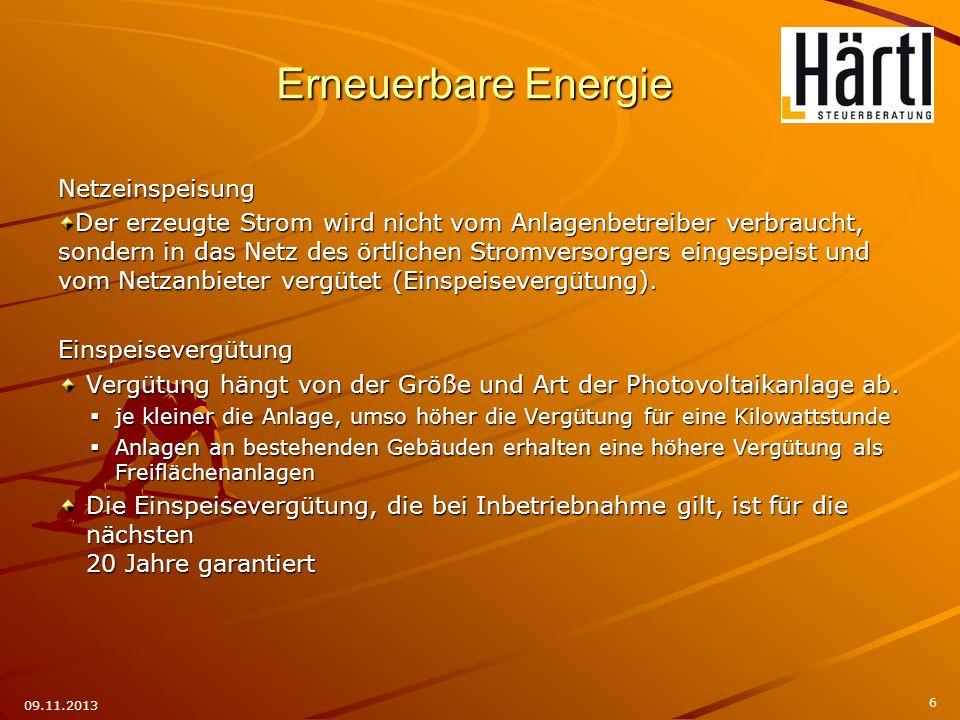 Erneuerbare Energie Netzeinspeisung
