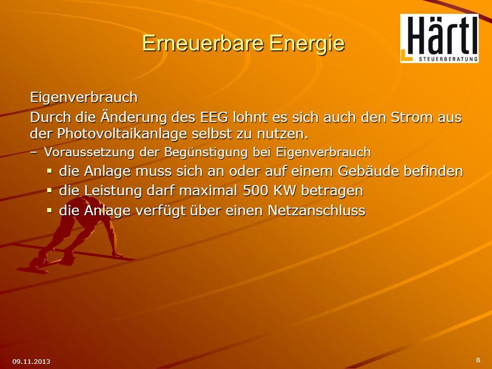 Erneuerbare Energie Eigenverbrauch