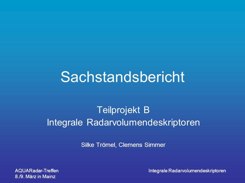 Sachstandsbericht Teilprojekt B Integrale Radarvolumendeskriptoren