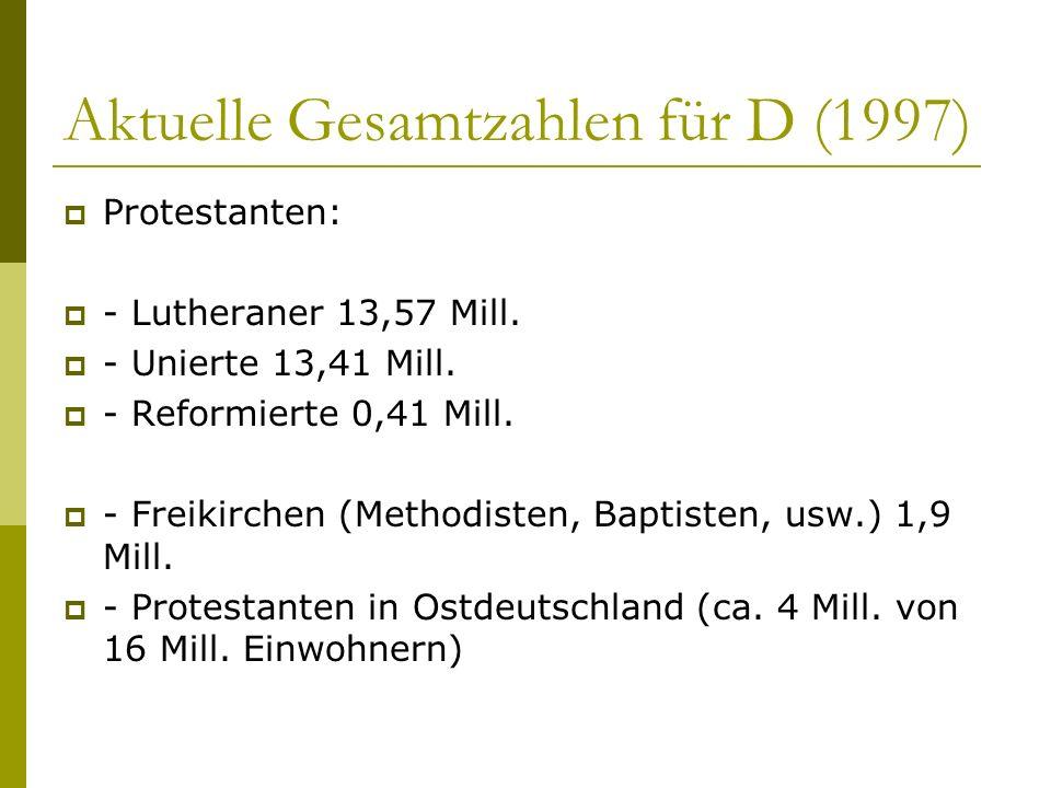 Aktuelle Gesamtzahlen für D (1997)