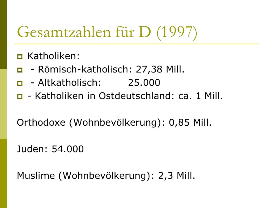 Gesamtzahlen für D (1997) Katholiken: