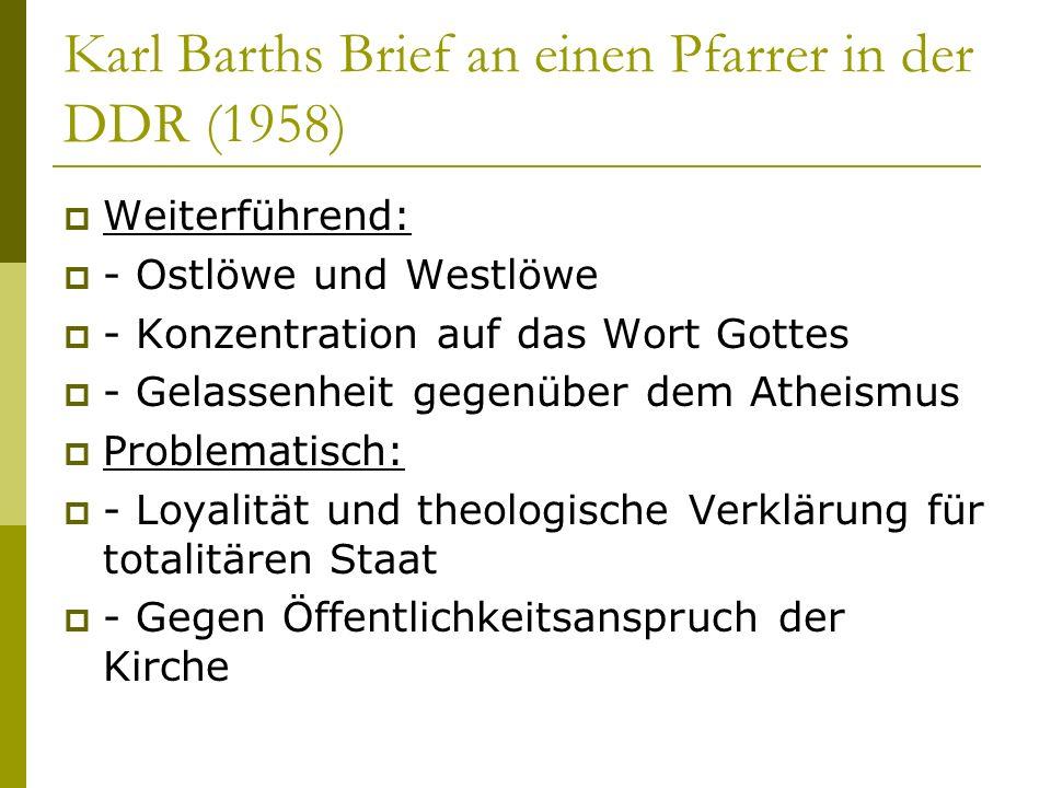 Karl Barths Brief an einen Pfarrer in der DDR (1958)