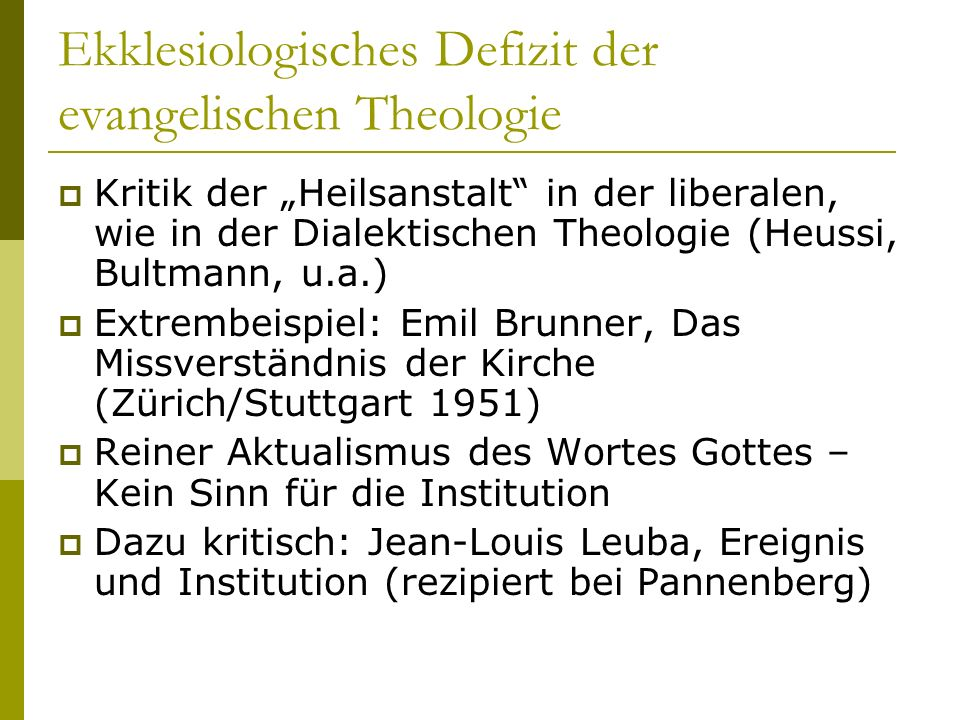 Ekklesiologisches Defizit der evangelischen Theologie