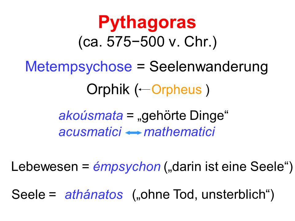 Pythagoras (ca. 575−500 v. Chr.) Metempsychose = Seelenwanderung