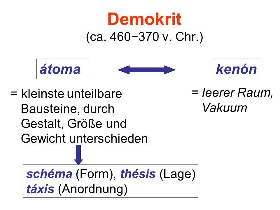 Demokrit (ca. 460−370 v. Chr.) átoma kenón = leerer Raum,