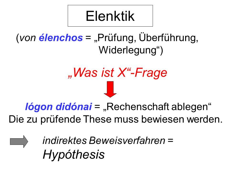 "Elenktik ""Was ist X -Frage Hypóthesis"