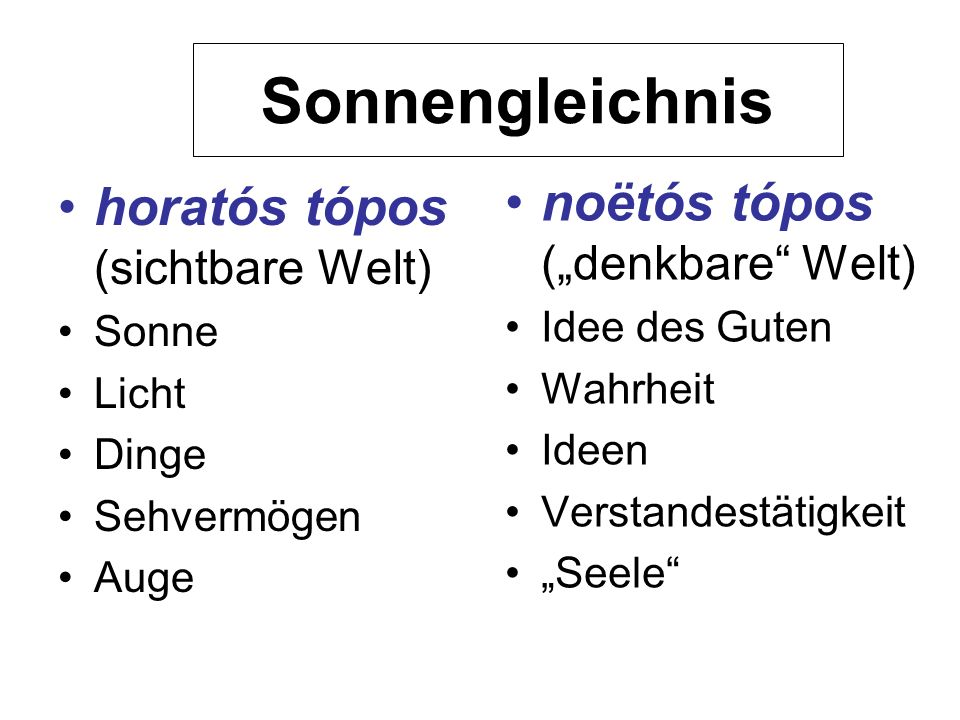 "Sonnengleichnis noëtós tópos (""denkbare Welt)"