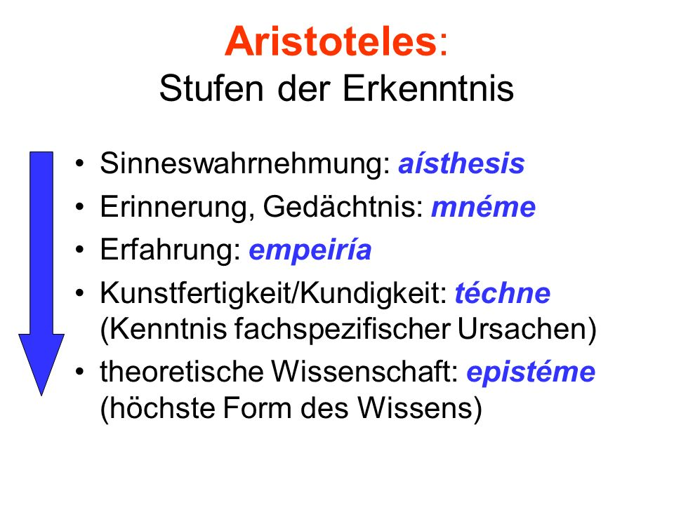 Aristoteles: Stufen der Erkenntnis
