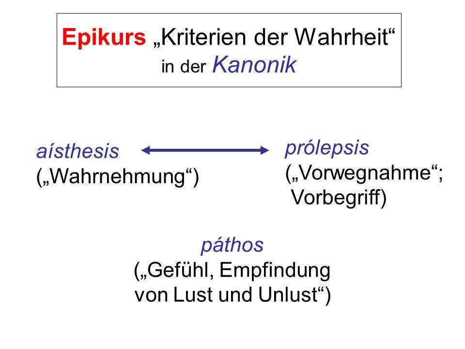 """Epikurs """"Kriterien der Wahrheit in der Kanonik"""