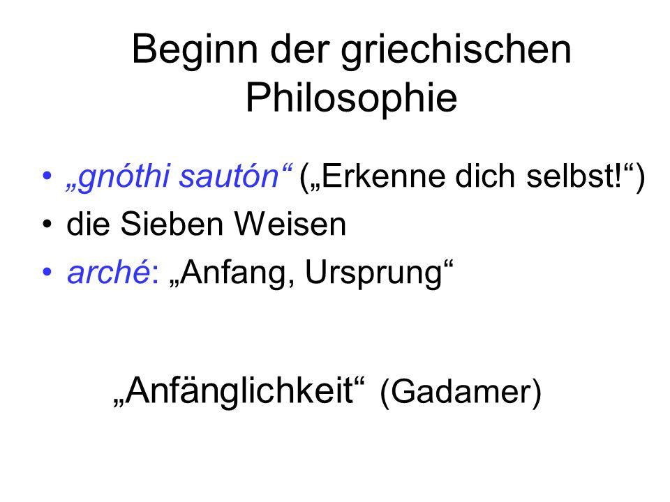 Beginn der griechischen Philosophie