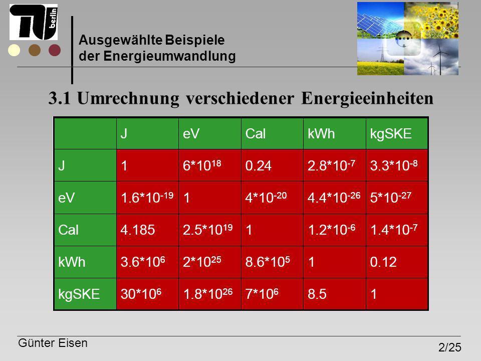 3.1 Umrechnung verschiedener Energieeinheiten