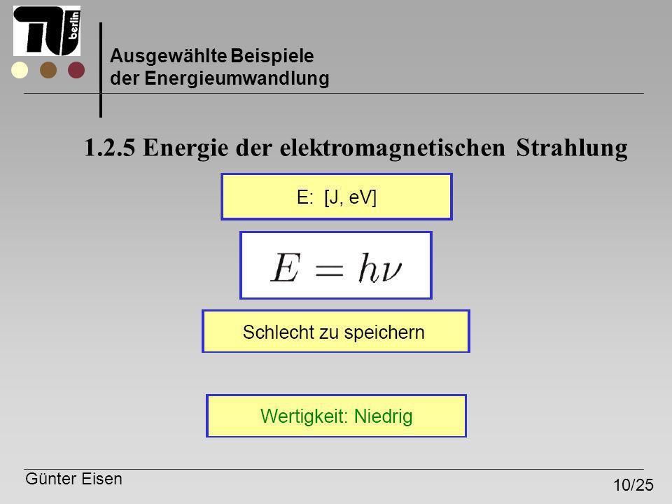 1.2.5 Energie der elektromagnetischen Strahlung
