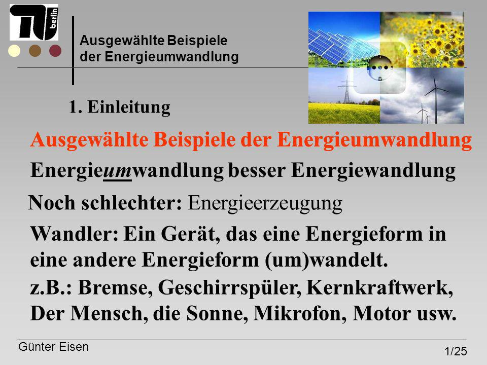 Ausgewählte Beispiele der Energieumwandlung