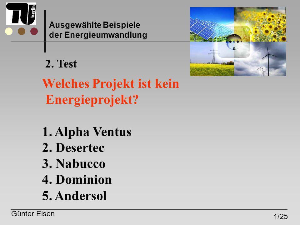 Welches Projekt ist kein Energieprojekt