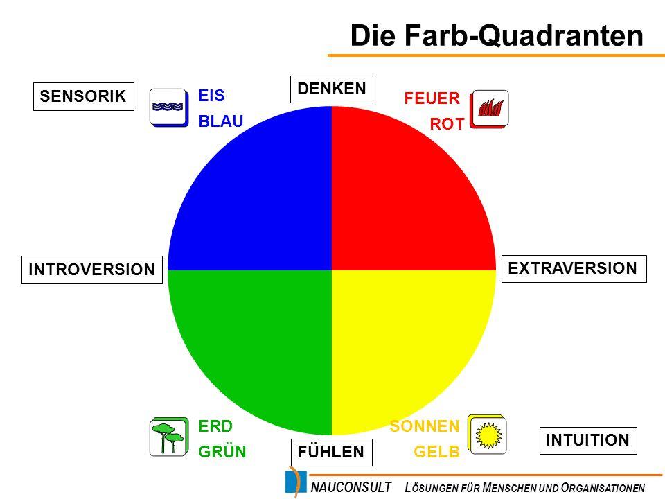 Die Farb-Quadranten DENKEN SENSORIK FEUER ROT SONNEN GELB ERD GRÜN EIS