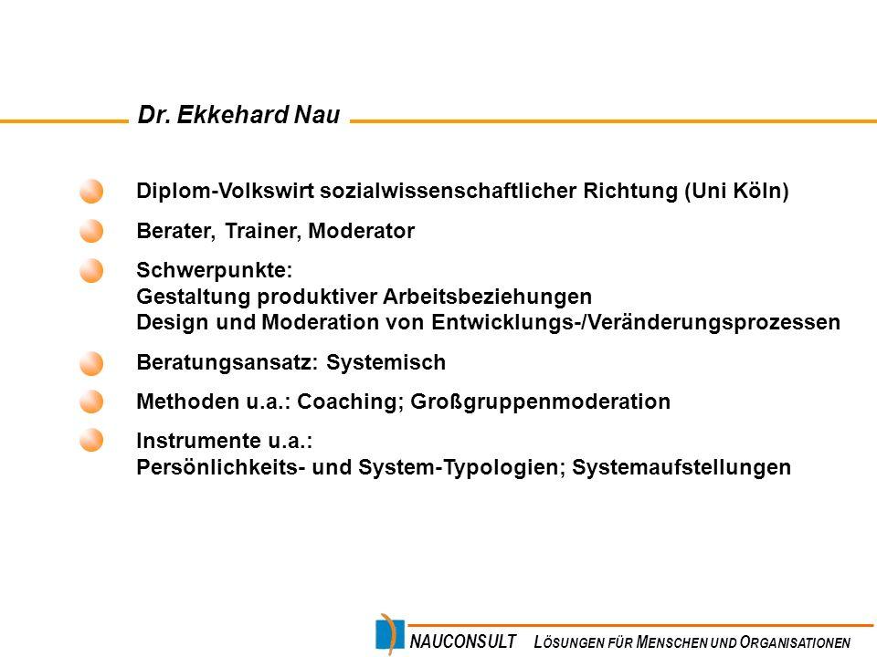 Dr. Ekkehard Nau Diplom-Volkswirt sozialwissenschaftlicher Richtung (Uni Köln) Berater, Trainer, Moderator.
