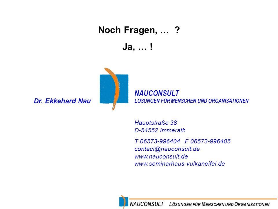Noch Fragen, … Ja, … ! NAUCONSULT Dr. Ekkehard Nau