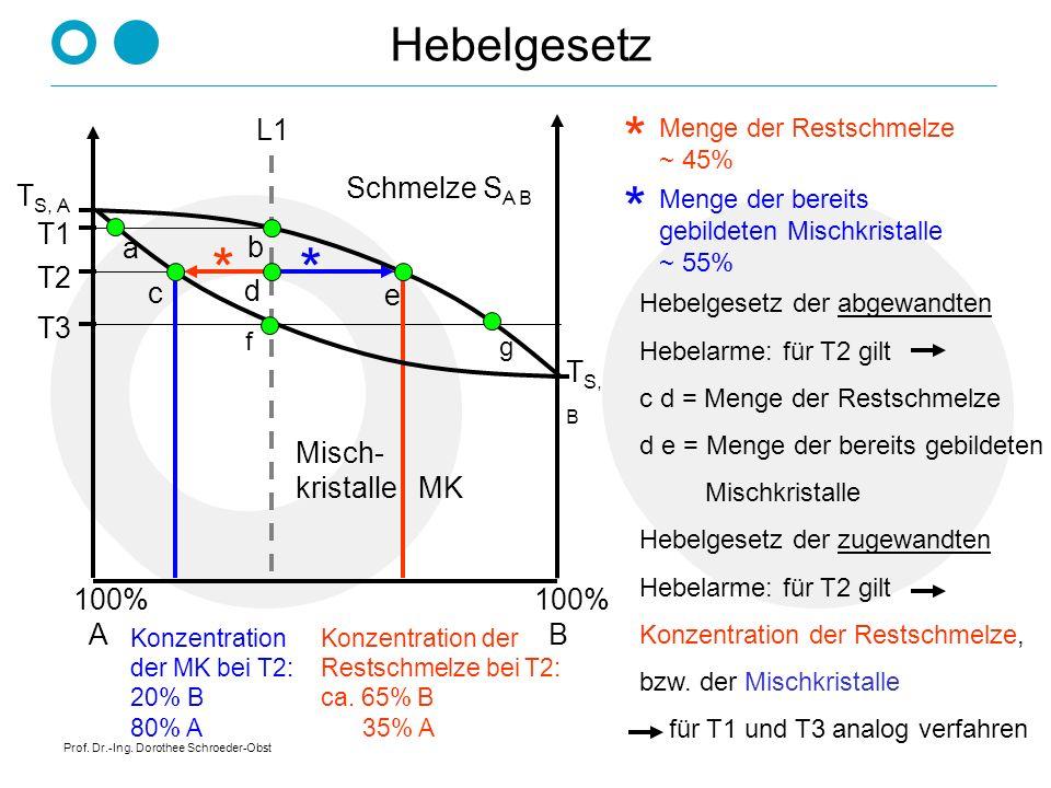 * * * * Hebelgesetz L1 Schmelze SA B TS, A T1 a b T2 c d e T3 TS, B