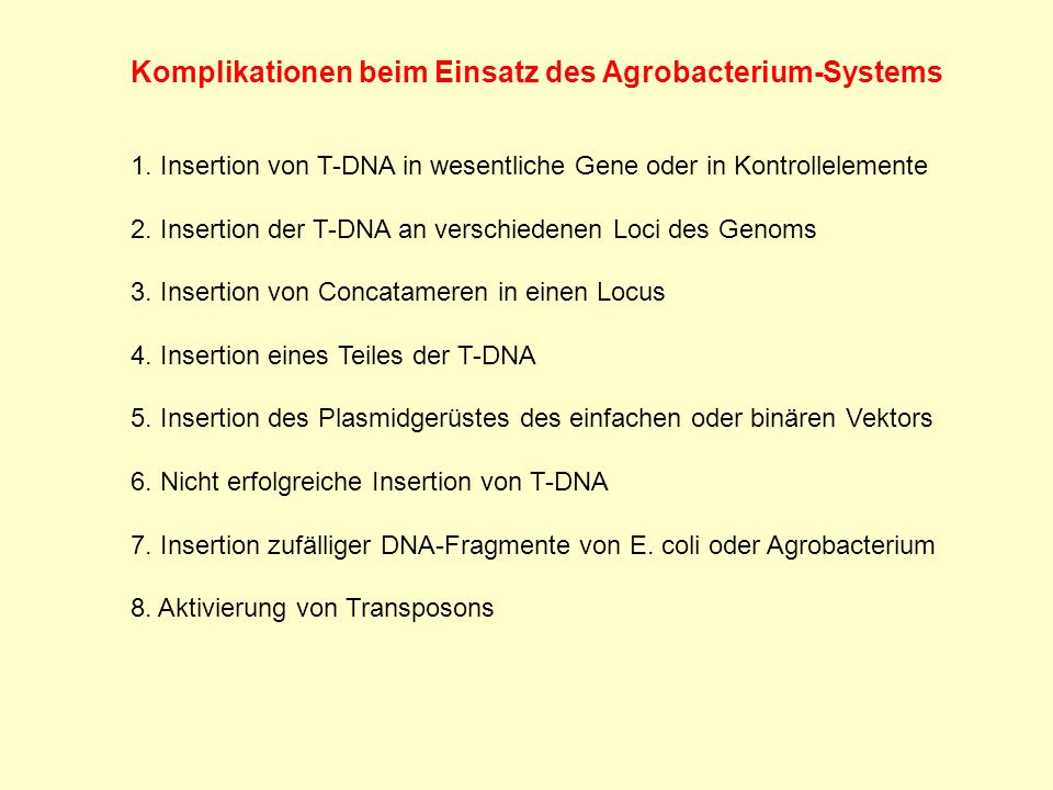 Komplikationen beim Einsatz des Agrobacterium-Systems