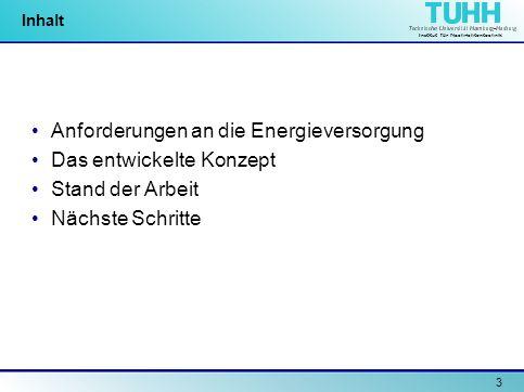 Anforderungen an die Energieversorgung Das entwickelte Konzept