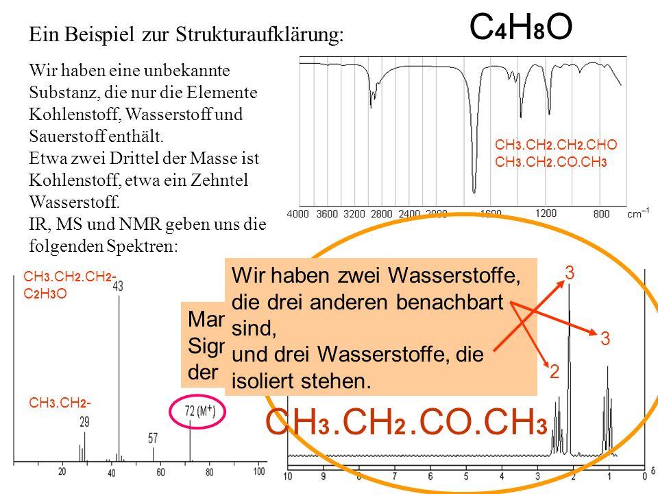 C4H8O C .C .CO.C H3 H2 H3 Ein Beispiel zur Strukturaufklärung:
