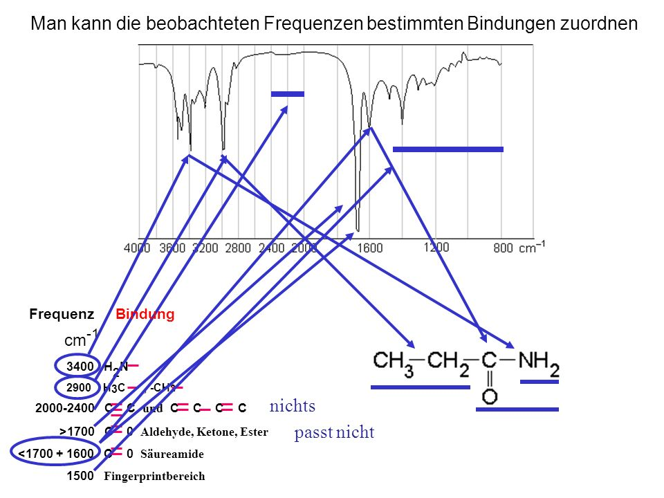 Man kann die beobachteten Frequenzen bestimmten Bindungen zuordnen