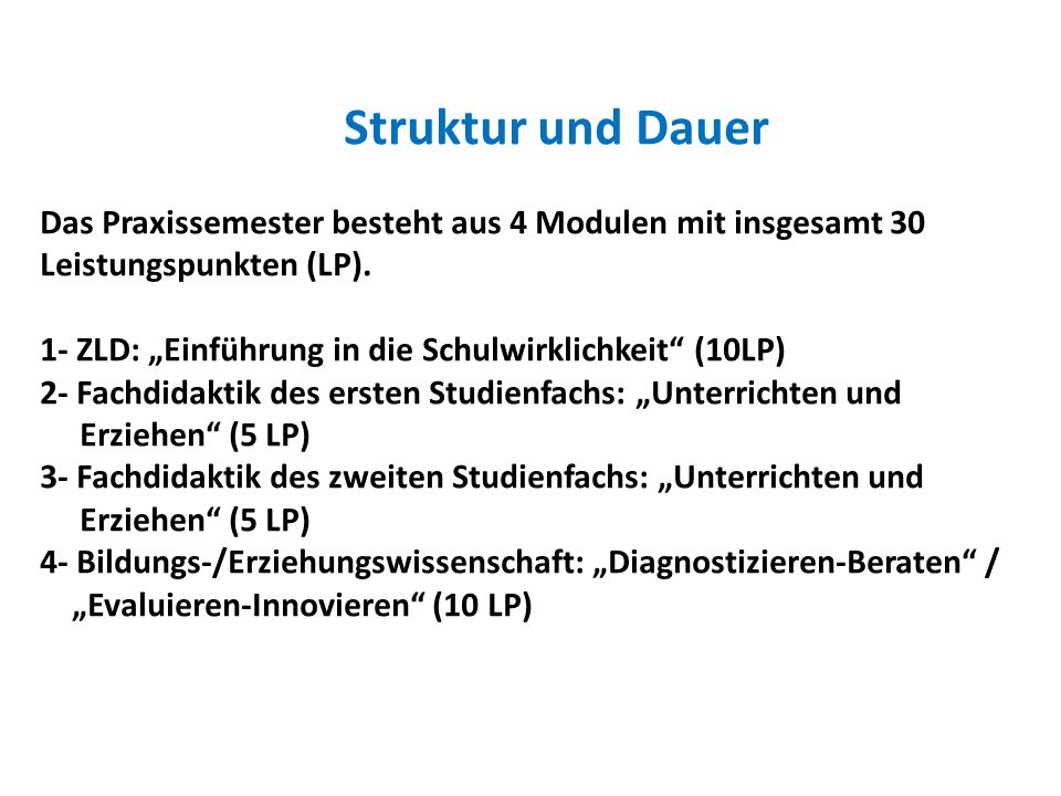"""1- ZLD: """"Einführung in die Schulwirklichkeit (10LP)"""