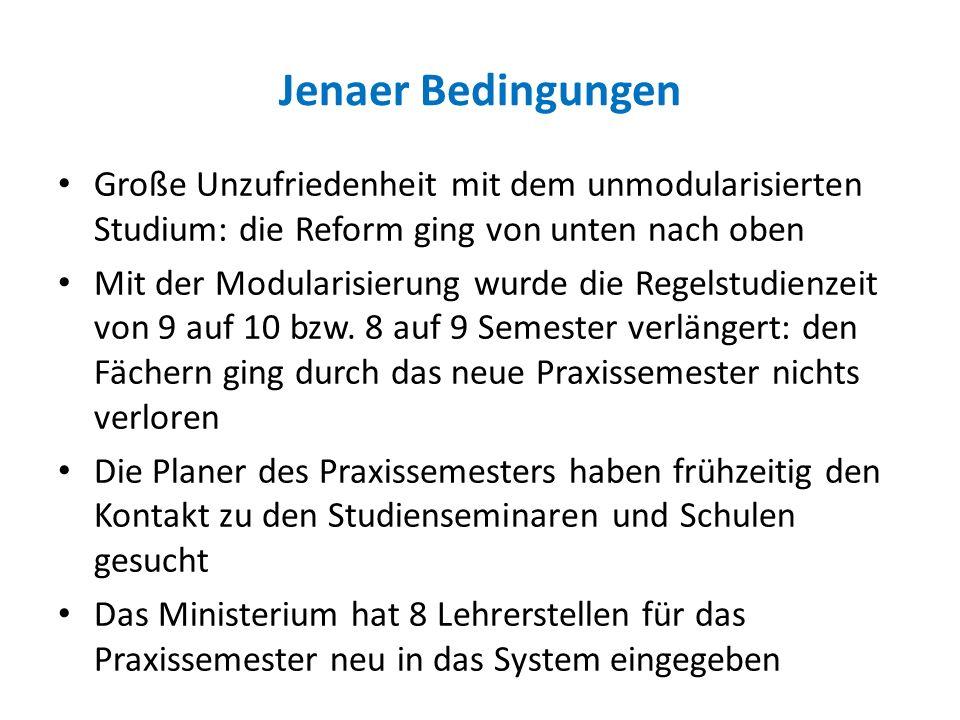 Jenaer Bedingungen Große Unzufriedenheit mit dem unmodularisierten Studium: die Reform ging von unten nach oben.