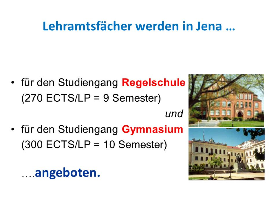 Lehramtsfächer werden in Jena …