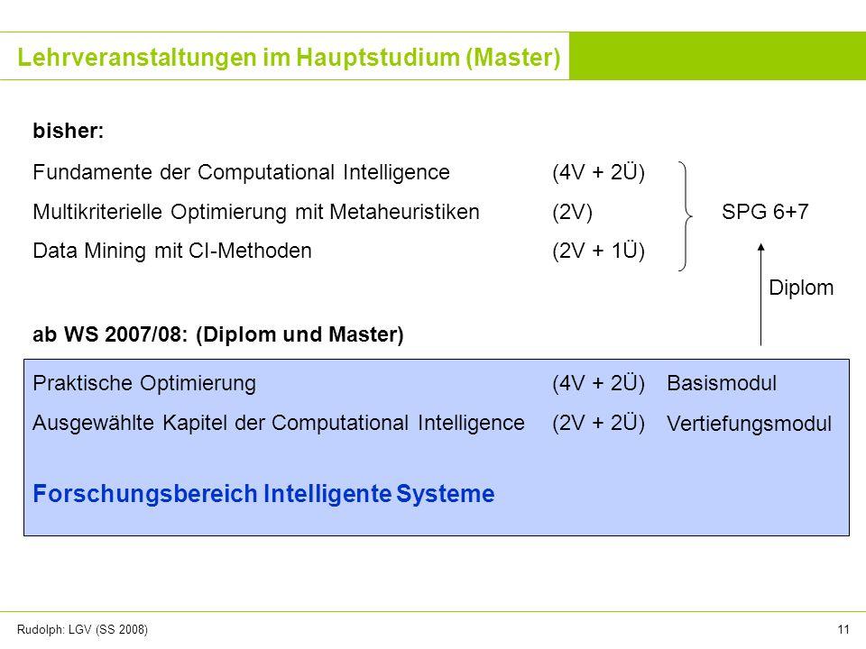 Lehrveranstaltungen im Hauptstudium (Master)