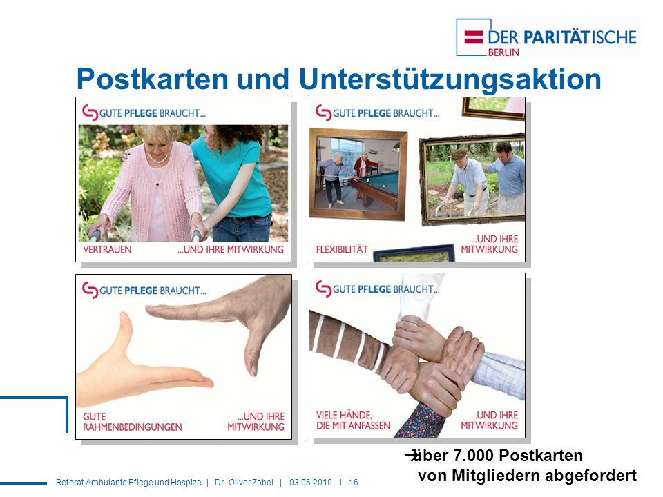 Postkarten und Unterstützungsaktion
