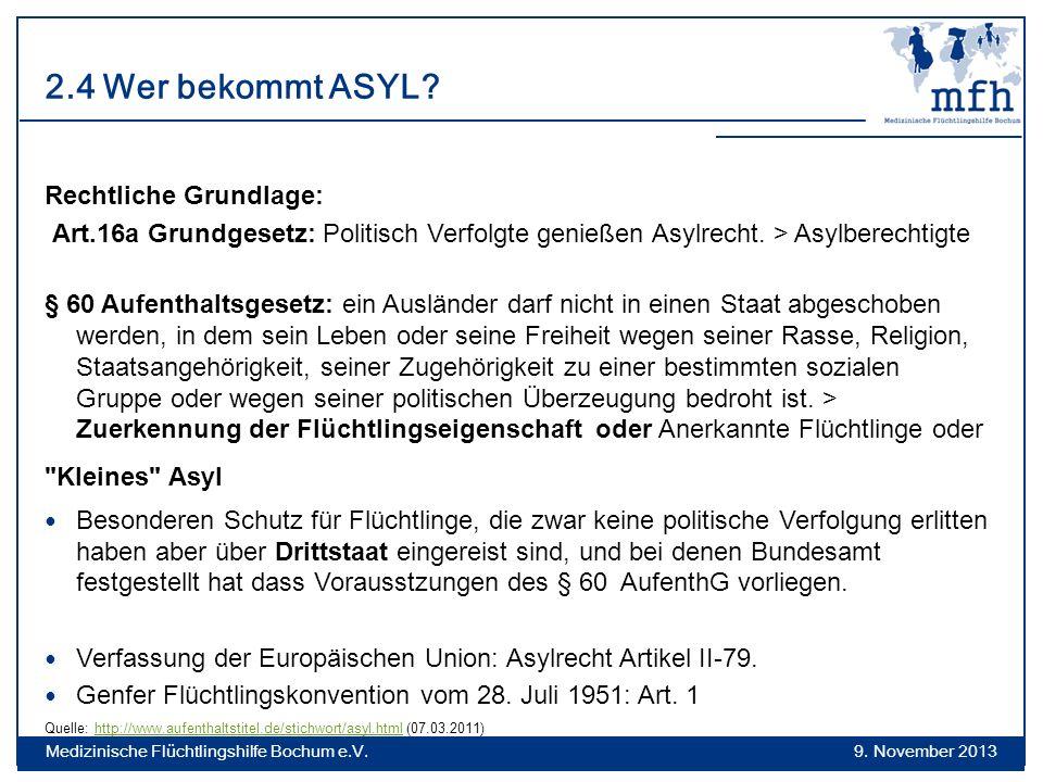 2.4 Wer bekommt ASYL Rechtliche Grundlage: