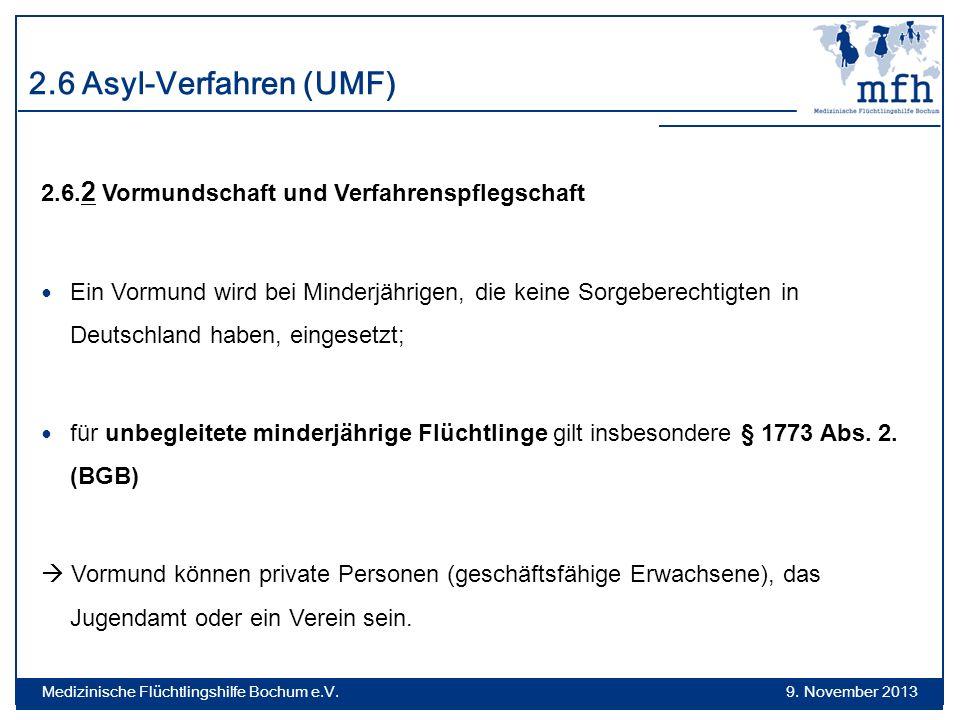 2.6 Asyl-Verfahren (UMF) 2.6.2 Vormundschaft und Verfahrenspflegschaft