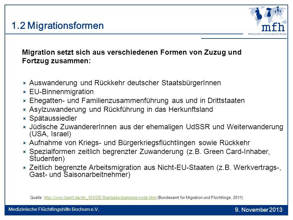 1.2 Migrationsformen Migration setzt sich aus verschiedenen Formen von Zuzug und. Fortzug zusammen: