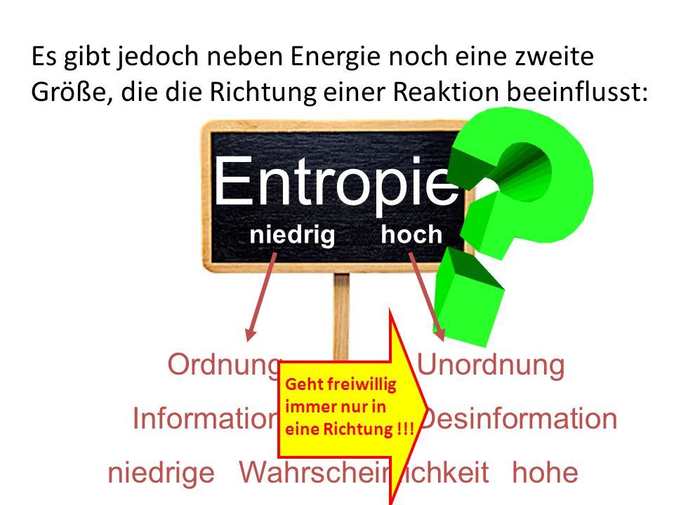 Es gibt jedoch neben Energie noch eine zweite Größe, die die Richtung einer Reaktion beeinflusst: