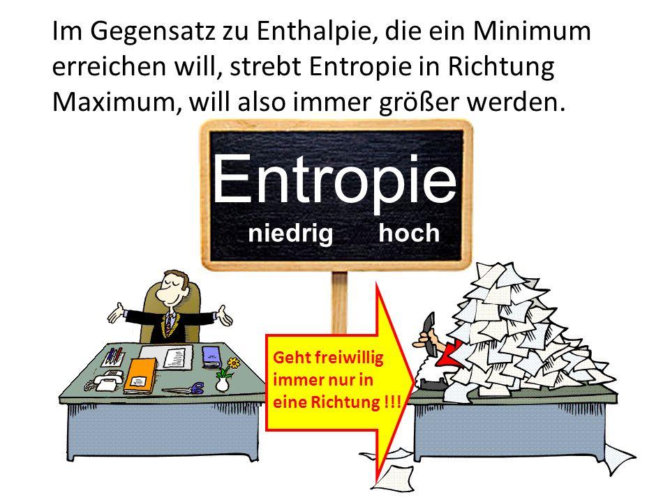Im Gegensatz zu Enthalpie, die ein Minimum erreichen will, strebt Entropie in Richtung Maximum, will also immer größer werden.