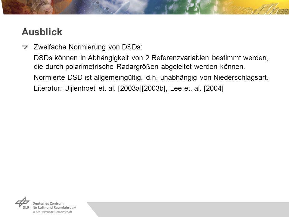 Ausblick Zweifache Normierung von DSDs: