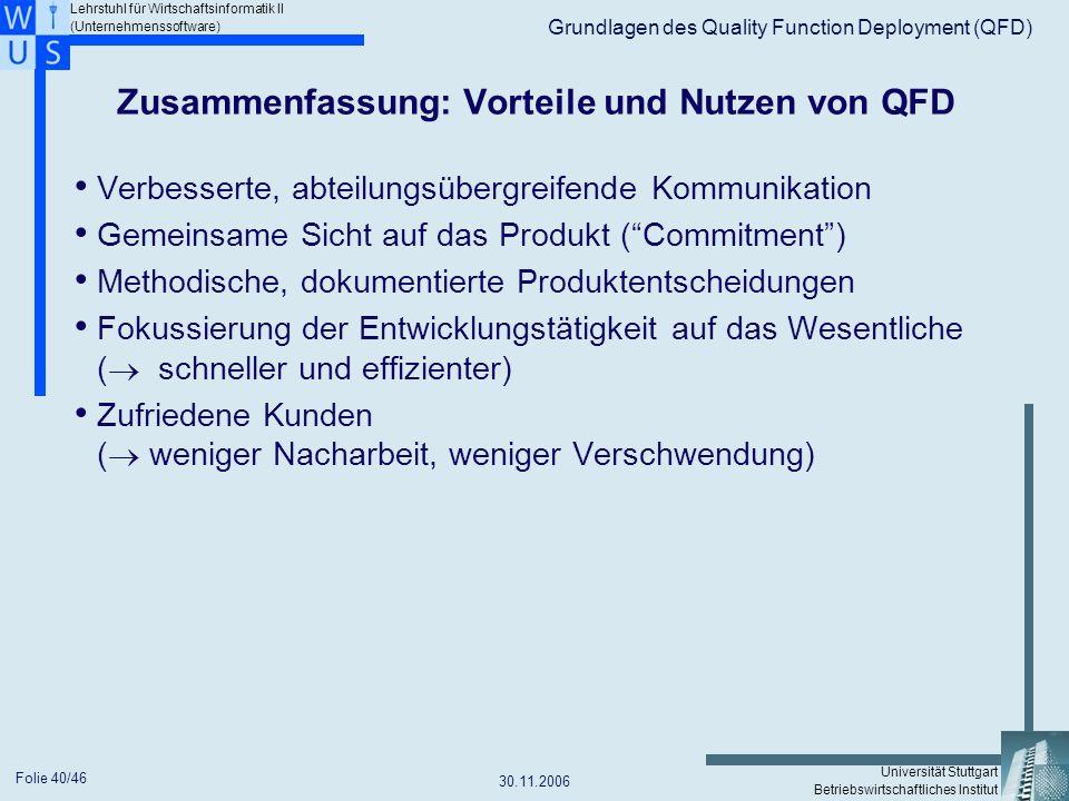 Zusammenfassung: Vorteile und Nutzen von QFD
