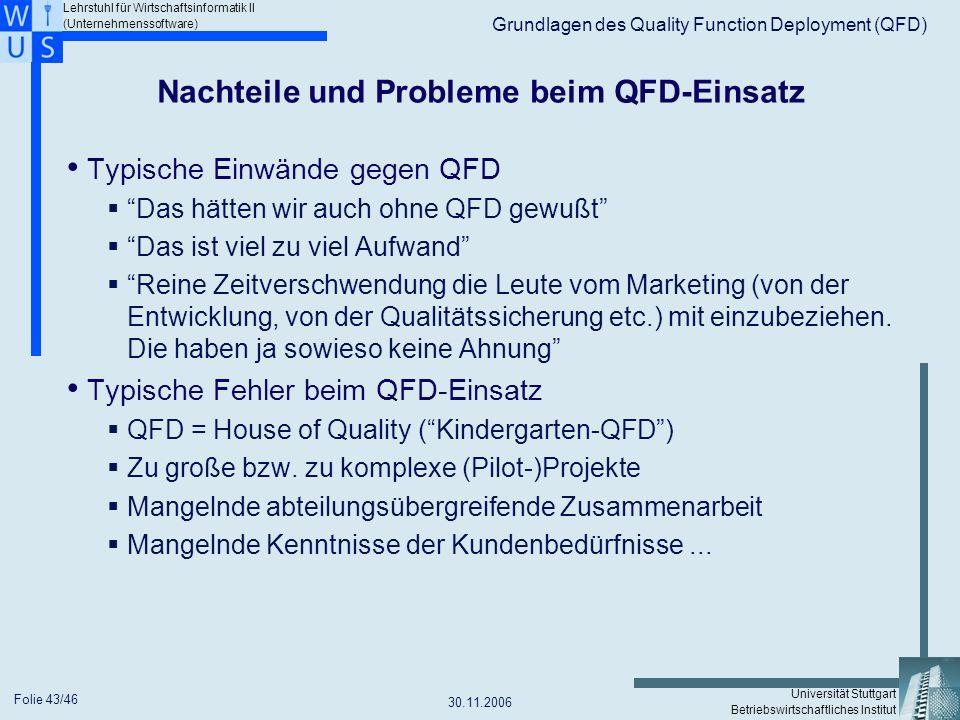Nachteile und Probleme beim QFD-Einsatz