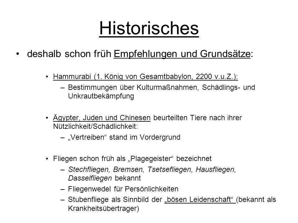 Historisches deshalb schon früh Empfehlungen und Grundsätze: