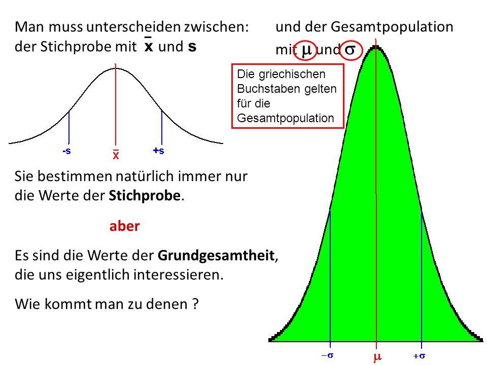 Man muss unterscheiden zwischen: der Stichprobe mit x und s