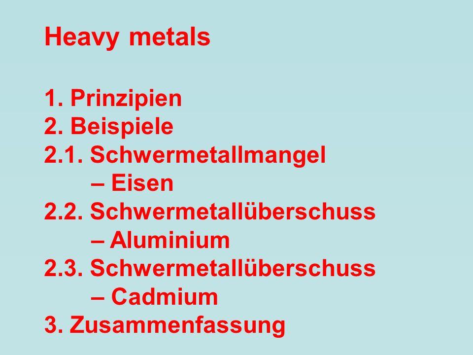 Heavy metals 1. Prinzipien 2. Beispiele 2.1. Schwermetallmangel