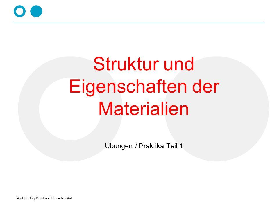 Struktur und Eigenschaften der Materialien Übungen / Praktika Teil 1