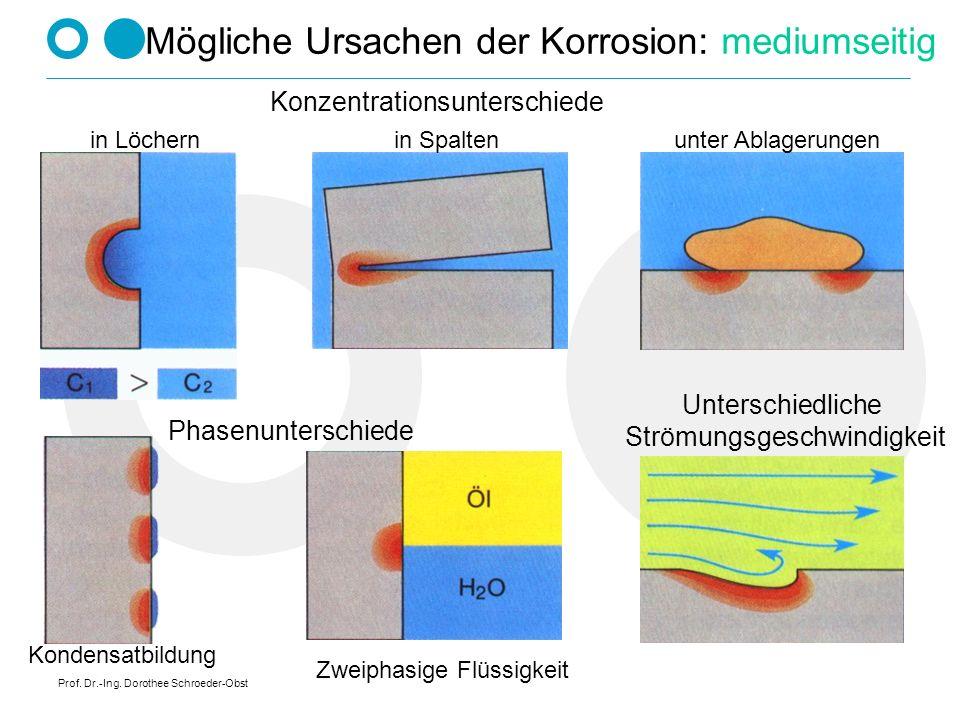 Mögliche Ursachen der Korrosion: mediumseitig