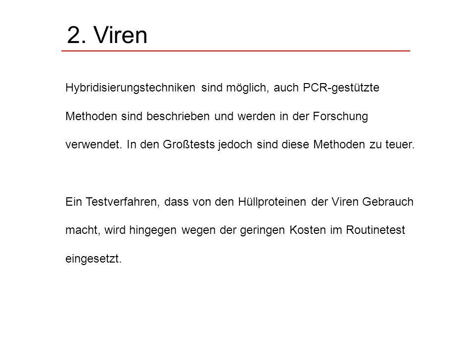 2. Viren Hybridisierungstechniken sind möglich, auch PCR-gestützte