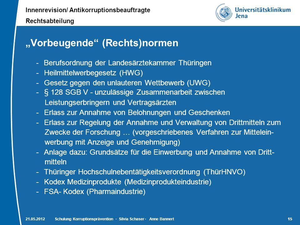 """""""Vorbeugende (Rechts)normen"""