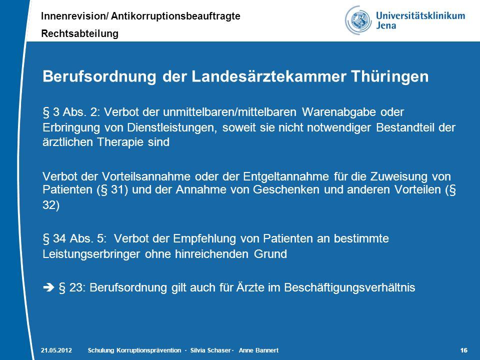 Berufsordnung der Landesärztekammer Thüringen
