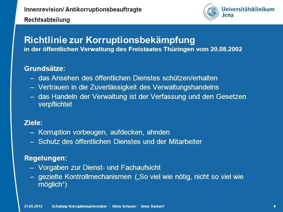 Richtlinie zur Korruptionsbekämpfung in der öffentlichen Verwaltung des Freistaates Thüringen vom 20.08.2002